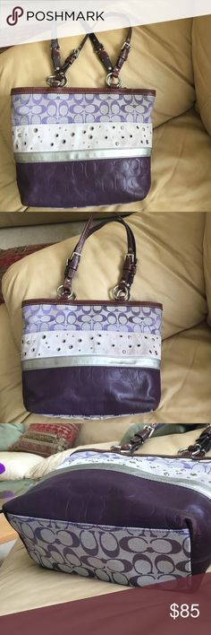 RARE Leather & Suede Signature Coach hobo F13075 RARE Leather & Suede Coach hobo F13075, various shades of purple, grey and silver. It is the signature c print with a khaki lining. It is a very cute bag. It has minor wear/scuff mainly on the bottom corners pictured. It has two slip pockets and a zip pocket inside and a zip top closure.10 in tall 13 in wide 5 in deep. Straps in great condition. Smoke free. Coach Bags Hobos