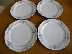 "Winterling Schwarzenbach Bavaria Porcelain 4  blue flowers plates 9.5"" Wig 48"
