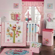 Baby Girl Bedding | ... Dainty Pink Forest Friendship Owl Baby Girl Nursery Crib Bedding Set
