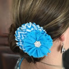 Turquoise hair flower, turquoise and white chevron flower hair clip, flower hair…