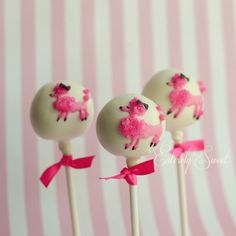 Pink Poodle Cake Pops found via etsy_click to go to their shop #cakepops #cookies #poodles