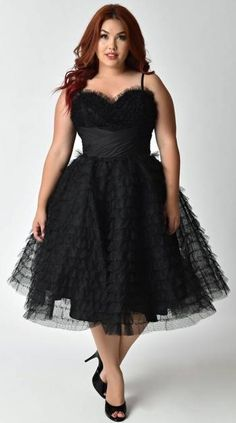 fcc47f0c65507 Unique Vintage Plus Size Black Ruffled Tulle Sweetheart Cupcake Swing Dress