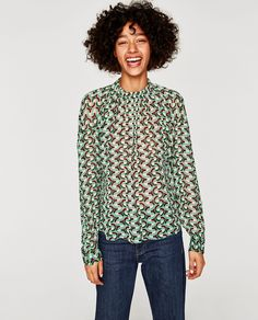 PRINTED BLOUSE WITH ELASTIC NECKLINE-View all-TOPS-WOMAN | ZARA United Kingdom