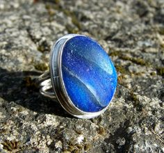 Blue seaglass ring