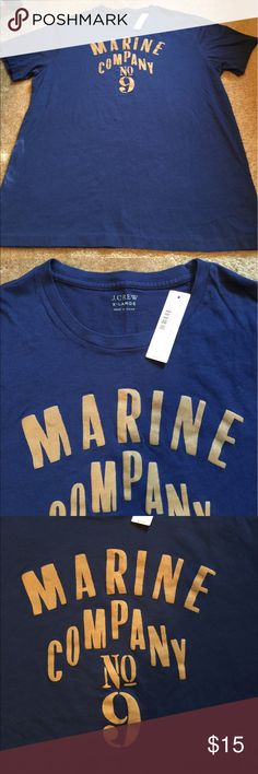 J Crew Graphic T Navy blue, large chest graphic, new with tag. Size XL. Retail $29.50 J. Crew Shirts Tees - Short Sleeve