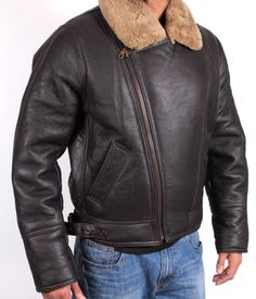 c842093a440 Bomber Flying Jacket Mens Aviator Ginger Brown Real Shearling Sheepskin  Leather Linen Suit