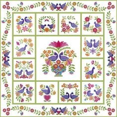 """My Tweets""  by Erin Russek . .full pattern - free applique quilt"