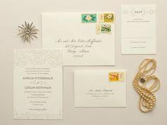 Posh | Art Deco Letterpress Wedding Invitation, Elegant 1920s Letterpress Invite  DEPOSIT