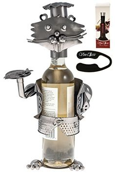 Wine Stoppers - Fabulous Cat Waiter Figurine Wearing a Chefs Hat and Holding a Tray of Fish Genuine Hand Made Wine Bottle Holder Plus a Wine Foil Cutter and a Wine Vacuum Stopper * You can find out more details at the link of the image.