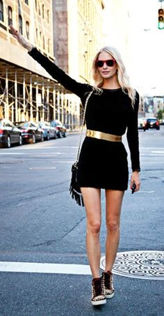 little blk dress with sneakers