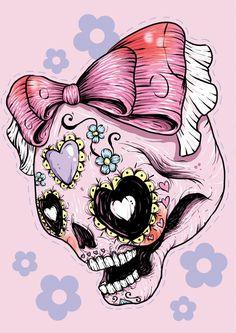 Sugar Skull (Pink) Art Print by Ella Mobbs | Society6
