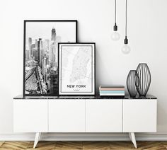 $12 -- New York City Poster - Map of Manhattan. High Quality Black and White Art Print. Create your Unique Picture Gallery Wall.