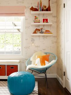 Modern Nursery by Niche Interiors. A Base of gray, cream, and dark wood with pops of aqua and tangerine.