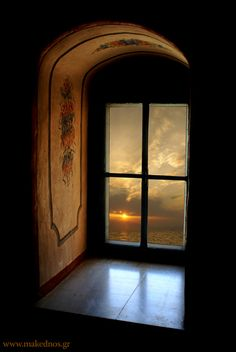 Sunset View from an Ocean Portal, Macedonia, Greece ~ Photo via ray . Portal, Looking Out The Window, Through The Window, Window View, Rear Window, Doorway, Windows And Doors, Stairway, Arches