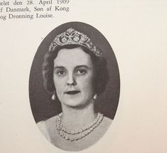 A diamond flroal tiara, worn here by Princess Margaret of Denmark, daughter of Prince Valdemar and Marie of O'rleans. Margaret wed Prince Rene of Bourbon-Parma, and was the mother of Queen Anne of Romania