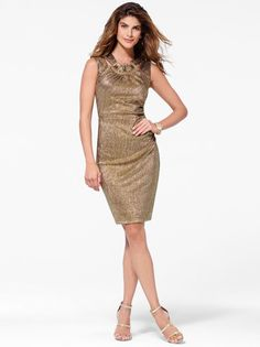 Gold Waffle Knit Dress with Metal Detail #CacheStyle
