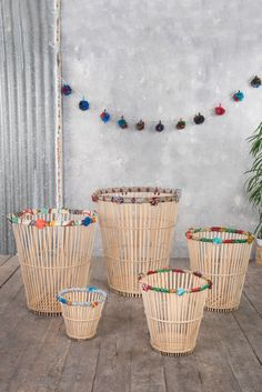 Basket with Pompoms – Ian Snow Ltd