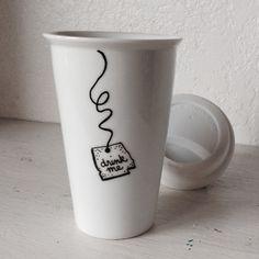 """Drink Me"" Porcelain Travel Mug - Silicone Lid - Alice in Wonderland - Handpainted (( the original )) by Left of Rose on Gourmly"