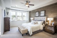 New Atlanta Homes for Sale Neutral Bedrooms, Master Bedrooms, Grey Headboard, Atlanta Homes, Wood Paneling, Neutral Colors, Warm And Cozy, Bedroom Decor, Night Stands