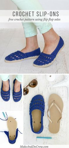 "Crochet Shoes with Rubber Bottoms — Free ""Toms"" Style Pattern! These crochet slip-on shoes come together easily with cotton yarn and a pair of flip flops. Wear them to cruise the boardwalk or when frolicking on the beach! Crochet Flip Flops, Crochet Slippers, Diy Crochet Sandals, Crochet Crafts, Free Crochet, Crochet Ideas, Diy Crochet Projects, Crochet Summer, Zapatillas Slip On"