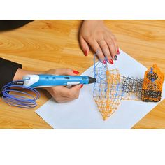 Sourcingbay Art 3D Stereoscopic Printing Pen Printer For 3D Drawing + Filament + Consumable Material For Arts Christmas Gift (Blue)