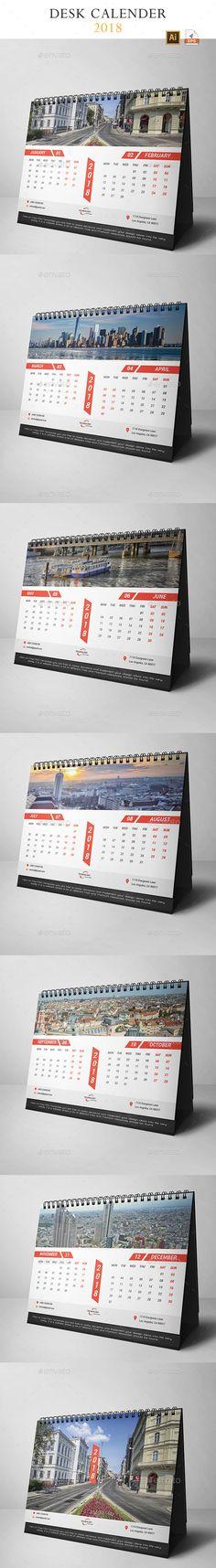 Desk Calendar 2018 Template Vector EPS, AI Illustrator