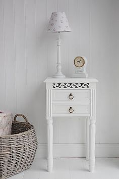 White Bedside table  with 2 drawers