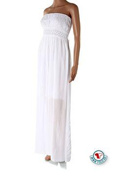 Dlhé šaty Butterfly Fashion biele Nádherné dlhé biele šaty bez ramienok s háčkovanou látkou na prsiach stiahnuté v páse gumou so stuhou na zaväzovanie za chrbátom. Ideálne na horúce letné dni vďaka tenkej splývavej látke. Šaty majú krátku spodničku, ktorá bráni presvitaniu spodného prádla. http://www.yolo.sk/saty/dlhe-saty-butterfly-fashion-2-biele