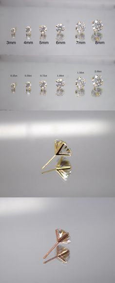 Diamond 10986: 14K Solid Gold Round Brilliant Lab Diamond Martini Prong Set Stud Earrings -> BUY IT NOW ONLY: $30.99 on eBay!