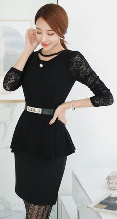 StyleOnme_Back Slit H-Line Skirt #allblack #lace #elegant #chic #feminine #koreanfashion #seoul #falltrend