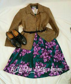 LuLaRoe Katie Aman / LuLaRoe style inspiration/ Fall / Fall Style Inspiration / Fall Fashion / Boots / Booties / Wool Jacket / Amelia dress / Retro / vintage / vintage style