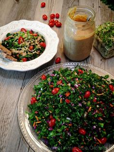Raw Wilted Kale and Veggie Salad with Asian Sweet and Spicy Recipe by NouveauRaw - #rawsaladrecipe