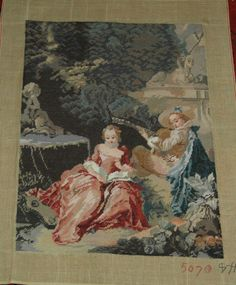 Vintage Needlepoint Picture .After Boucher, The Music Lesson.