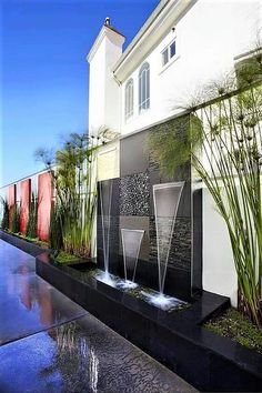 water feature at the pool side of the house. Poss instead of water feature at end of the pool Outdoor Water Features, Water Features In The Garden, Wall Water Features, Modern Landscaping, Backyard Landscaping, Backyard Waterfalls, Backyard Ponds, Landscaping Ideas, Backyard Ideas