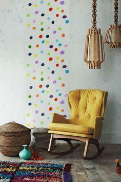 Self adhesive vinyl tapestry wallpaper, wall decal - Multicolor polka dot pattern wallpaper - 090
