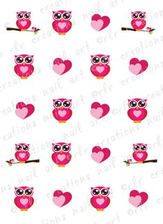 20 Nail Decals VALENTINE OWLS and HEARTS Water Slide Nail Art Decals Cute Valentine Owls
