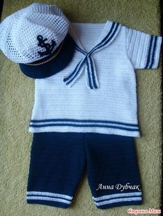 Free Crochet Baby Sailor Hat Pattern/etsy*com Crochet For Boys, Knitting For Kids, Baby Knitting Patterns, Baby Patterns, Free Crochet, Crochet Baby Clothes, Newborn Crochet, Sailor Outfits, Baby Boy Gifts