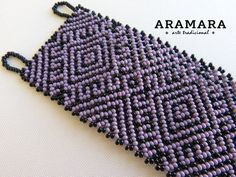 Mexicana Huichol cuentas púrpura pulsera PG-0027 por Aramara