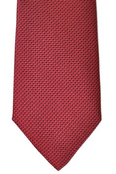Genuine Armani Collezioni tie with red/ burgundy linear design, jacquard silk, hand made in Italy