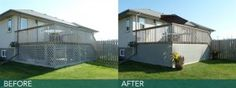 Cover lattice without having to remove it. The deck skirting gives this backyard deck a whole new look.