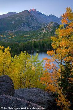 Autumn colors at Bear Lake Rocky Mountain National Park Colorado.