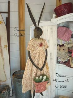 Primitive Rabbit Bunny Doll Pattern Paper by VeenasMercantile