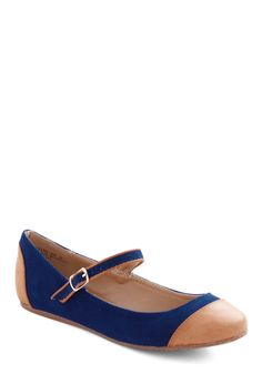 Dance Break Flat in Cobalt - Blue, Tan / Cream, Solid, Flat, Mary Jane, Casual, Vintage Inspired, Faux Leather