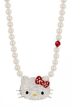 Hello Kitty Crystal and Pearl Pendant Necklace