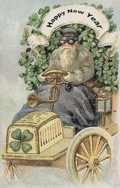 Happy New Year Postcard. Father Time driving an automobile.