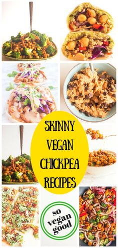 Skinny vegan chickpea apps, meals and even dessert! Chickpea Recipes Easy, Delicious Vegan Recipes, Veggie Recipes, Appetizer Recipes, Whole Food Recipes, Vegetarian Recipes, Cooking Recipes, Appetizer Dessert, Vegan Vegetarian