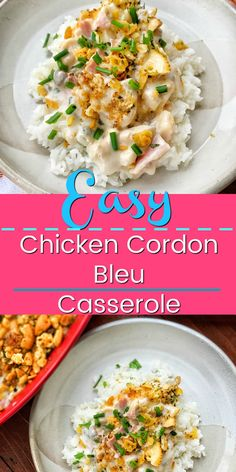 An easy casserole recipe that is going to be a family favorite. Creamy chicken, swiss cheese, crispy cracker crust, served over rice. Easy Chicken Cordon Bleu, Chicken Cordon Bleu Casserole, Hamburger Casserole, Chicken Casserole, Top Recipes, Dinner Recipes, Kraft Recipes, Rice Recipes, Easy Casserole Recipes