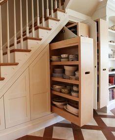 storage ideas for under stairs design sponge stair house Space Under Stairs, Under The Stairs, Staircase Storage, Storage Under Stairs, Staircase Ideas, Hallway Storage, Basement Storage, Under Stairs Pantry, Closet Storage