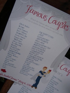 Beth hates games, but love celebrity gossip. Bridal shower games printable: Famous Couples Match the Famous Movie Couple Printable Bridal Shower Games, Wedding Shower Games, Wedding Games, Shower Party, Wedding Showers, Wedding Ideas, Shower Time, Wedding Songs, Party Planning