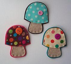 polka dot mushroom pins / brooches by paper-and-string-on-flickr, via Flickr
